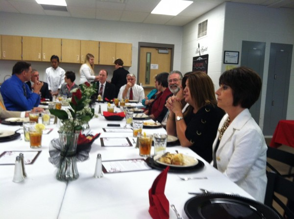 Superintendent Study Council Participants enjoy a delicious meal prepared by culinary arts students at Stewarts Creek High School.