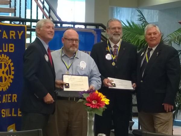 LEAN Frog team members Byron Headrick and Dave Knowles receive Rotary Club's prestigious Paul Harris Fellow award in June.