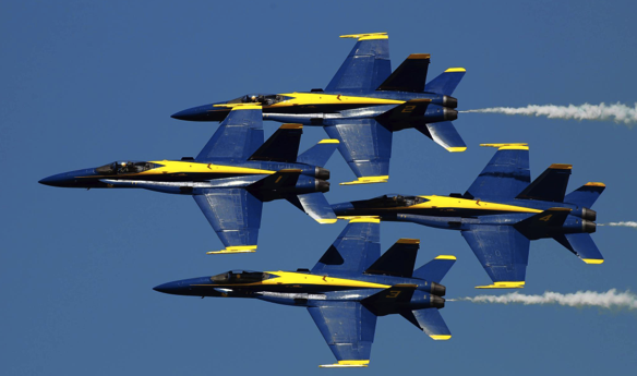 The Blue Angels Flying in Formation